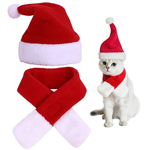 Cappello Da Babbo Natale Per Cani Gatti Sciarpa E Cappello Natalizio Animali Domestici Set Costume Natalizio Per Animali Sciarpa Natalizia Rossa Per Animali Domestici Abiti Natalizi Animali Domestici