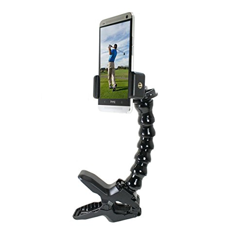 Golf Gadgets - Swing Recording System | Large Device Holder (PHABLET) with Jaws Clamp & Gooseneck Mount. Compatible Large Devices Like iPhone 6/7 Plus, Samsung Galaxy Note, etc.