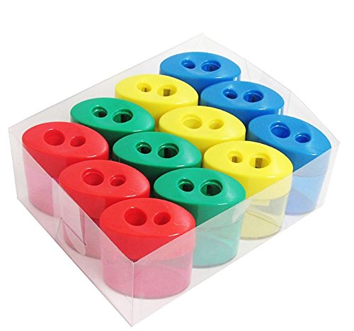 Mega Pack Of 12 Double Hole Oval Shaped Pencil Sharpener With Cover And Receptacle - Comes In 4 Colors! By Mega Stationers