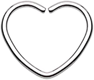 18 GA Heart Shaped Bendable Twist Hoop Ring 316L Stainless Surgical Steel Body Jewelry Piercing DavanaBody (Multiple Colors)