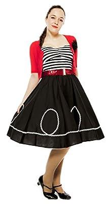 Black & White Circle Swing Skirt - Retro Ric Rac Trim Rockabilly Twirl - S to XL