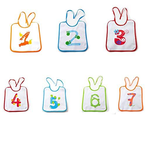 7 Baberos bebe de Algodón, uno por Día de Semana. Ideal recién nacidos. Set 7 unidades para proteger a tu bebé de manchas. Kottao