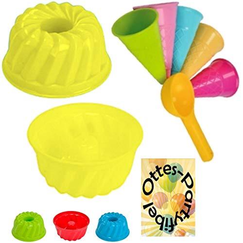 HHO Sandspielzeug 1 Kuchen-Sandform + 5 Eistüten + 1 Portionierer Sandkasten Kindergarten