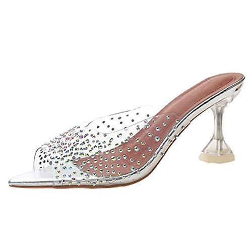 Yhjmdp Diamante de imitación Transparente Mujer Tacones Altos Zapatillas Verano Moda Sandalias...