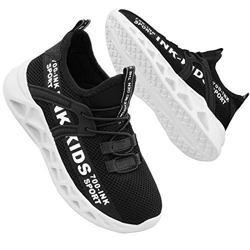 Hoylson Kinder Turnschuhe Jungen Sportschuhe Draußen Sneakers Jungen Hallenschuhe mit Klett(Schwarz und weiß,EU 33/ Etikette 34
