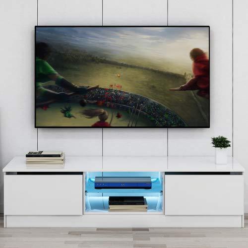 Hovisi Fernsehtisch LED-TV-Schranktisch Wohnzimmer mit Schiebetüren 120 cm Schranktisch mit 16-Farben-LED-RGB-Leuchten, Aufbewahrung, glänzend, weiß Möbel Lowboard Tisch (weiß)