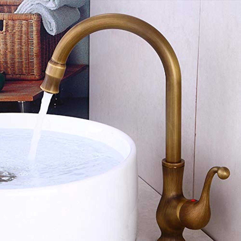 Faucet All Copper European Retro Faucet Antique Pure Copper Table Above Basin Faucet Art Basin hot and Cold Plus Faucet