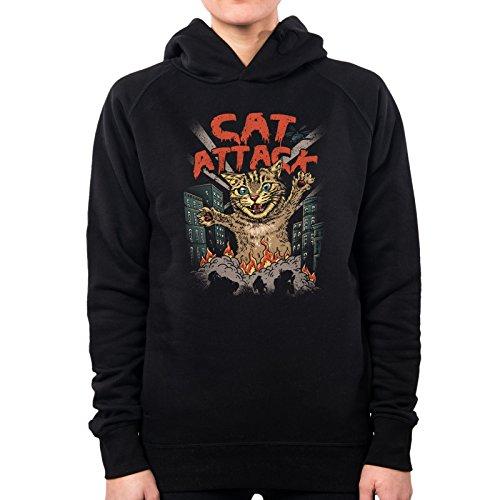 PacDesign Sweatshirt À Capuche Femme Cat Attack Mars Gatto Vt0014a, M, Black