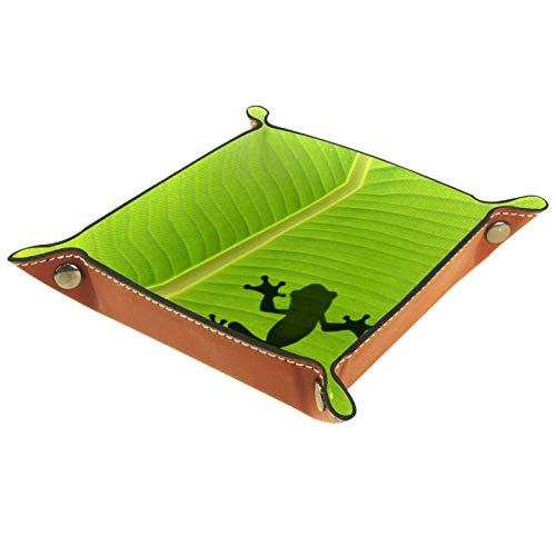 YATELI Petite boîte de Rangement, Plateau de Valet pour Homme,La Grenouille Qui Se Profile sur la Feuille de bananier,Organisateur de fourre-Tout en Cuir pour Bijoux à clés