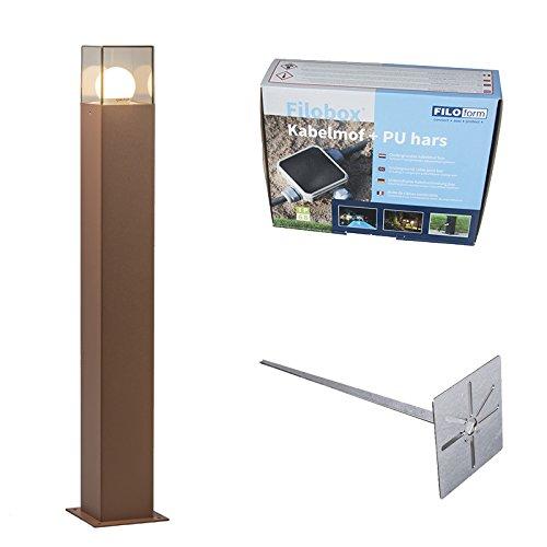 QAZQA Moderno Baliza 70cm óxido pin tierra y kit conexión subterránea -...