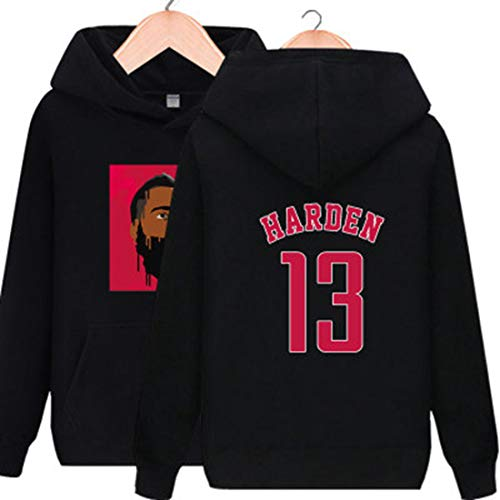 YDYL-LI Basketball-Jersey-Uniform Hoodies 13# James Harden Sweatshirt Gewohnheit Pullover Für Männer Teens Lässige Zeitskleidung, Weich Und Bequem,Schwarz,L
