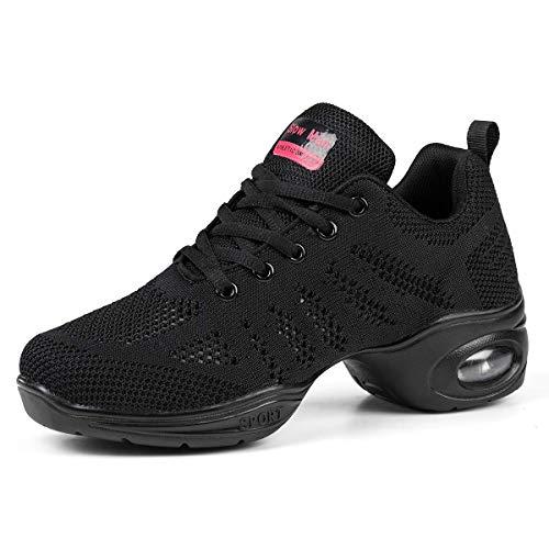 Women's Jazz Shoes Lace-up Sneakers - Breathable Air Cushion Lady Split Sole Athletic Walking Dance Shoes Platform A Black,9