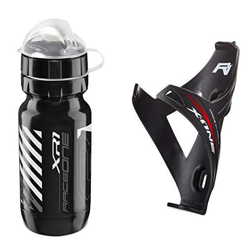 Raceone - Kit Race Duo X1 Matt (2 PCS): Porta Bidon X1 + Bidon de Ciclismo XR1 Bici Carrera de Ruta/Bicicleta de Montaña MTB/Gravel Bike. 100% Made IN Italy