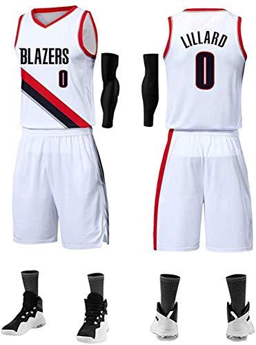 Tuta da Basket da Uomo Portland Trail Blazers #0 Damian Lillard Maglia da Basket Senza Maniche Abbigliamento da Basket per Adulti E Bambini (compresi Pantaloncini),White1-L