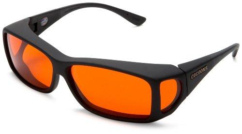 Cocoons Fit On Low Vision Absorptive Filters C422B Wideline Sunglasses,Black Frame/Orange Lens,one size
