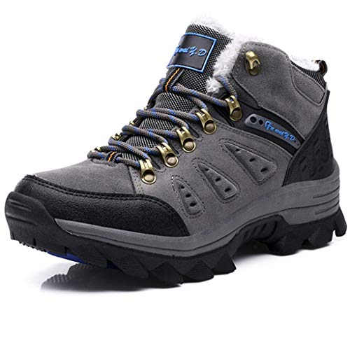 Zpyh Men Leather Lightweight Waterproof Walking Hiking Trekking Comfort Memory Foam Shoes The Best Gift for Christmas is Suitable for Autumn and Winter Seasons (Color : Gray, Size : 6.0UK)