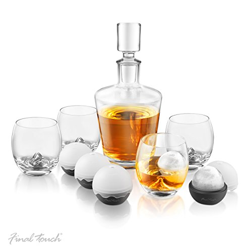 Final Touch On The Rock Whisky-Dekanter-Set aus Glas – 10-teiliges Set mit Whiskygläsern/Silikoneisballformen/Dekanter und Stopfen GS400