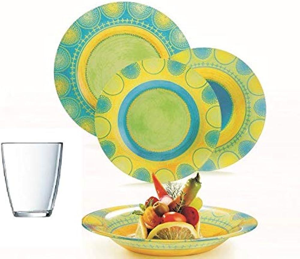 Pagano, servizio di piatti 48 pezzi, in vetro arcopal, compresi 12 bicchieri in regalo