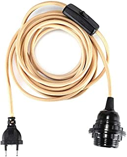 GreenSun - Portalámparas E27 con interruptor E27 con cable textil de 4,5 m, 2 núcleos, anillo roscado, para lámpara de techo, color beige