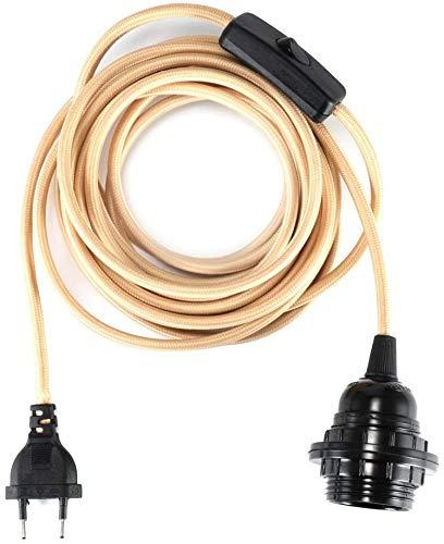 GreenSun E27 Lampenfassung mit Schalter E27 Fassung mit 4,5m Textilkabel 2 adrig Schraubring Lampensockel für Pendelleuchte, Beige