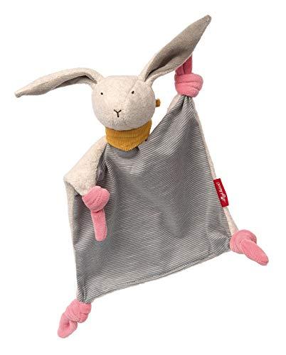 Sigikid- Filles et Garçons, Doudou Plat Lapin Signature Collection, Jouets pour Bébés Recommandé à partir de 0 Mois, 41936, Rose, Gris, 25 x 20 x 7 cm