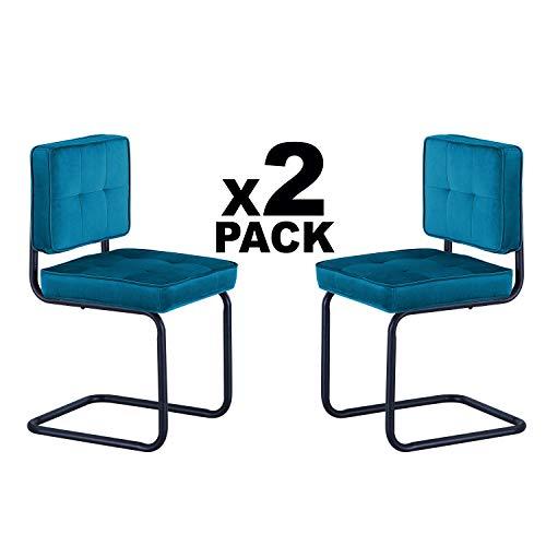 Adec - Sinatra, Pack 2 sillas de Comedor, Cocina o Comedor, Silla tapizada en Tejido Velvet Verde y Patin Negro, Medidas: 42 cm (Ancho) x 43 cm (Fondo) x 81 cm (Alto)