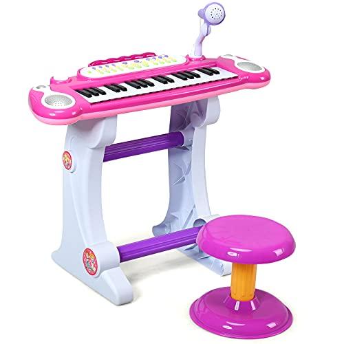 GOPLUS 37 Tasten Kinder Standkeyboard, Kinderklavier mit Mikrofon&Licht, Spielzeug Piano mit Hocker, 8 Töne, 8 Rhythmen, Lehrfunktion, Aufnahme-&Wiedergabe-Funktion, für Kinder ab 3 Jahren (Rosa)