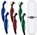 Premium Hard Denture Brush Toothbrush, White Carrying Case, Multi-Layered Bristles & Portable Denture Double Sided Brush, Denture Care(Pack of 6)