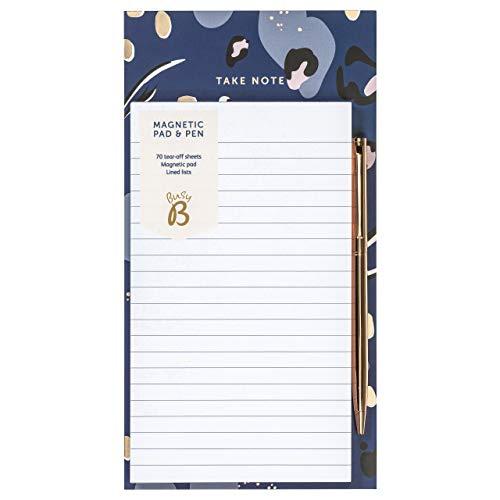 BusyB - Bloc-notes aimanté et stylo - 70 feuilles de listes lignées avec aimant et stylo 2311