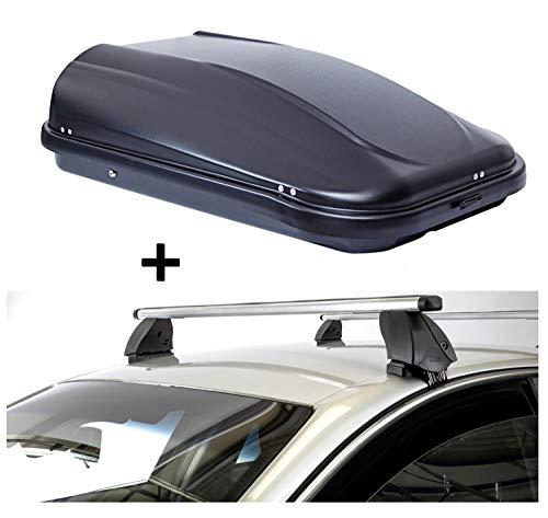 Dakkoffer JUPRE320 liter zwart glanzend afsluitbaar + dakdrager K1 PRO aluminium compatibel met Toyota Verso (5-deurs) vanaf 09