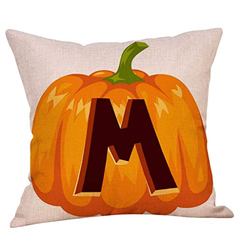 ROOPE Pillowcase Fall Halloween Pumpkin Letter Pattern Pillow Case Waist Throw Cushion Cover Sofa Home Decor (Color : M, Size : 45cm*45cm)