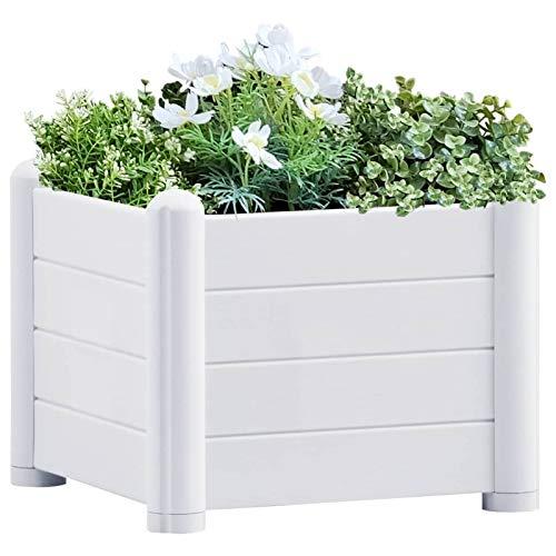 Festnight Arriates de jardín   Jardineras Exterior Madera Maciza Abeto 43x43x35 cm Blanco