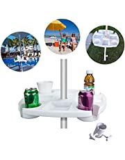 Bandeja de mesa para sombrilla, color blanco, bandeja de mesa para sombrilla de playa con 4 portavasos, para aperitivos para playa, patio, jardín, piscina de 17 pulgadas