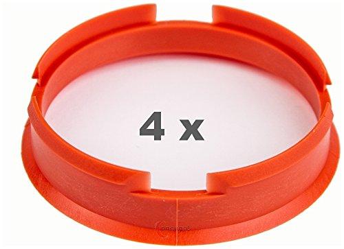 4 x Zentrierringe 72.6 mm auf 67.1 mm orange