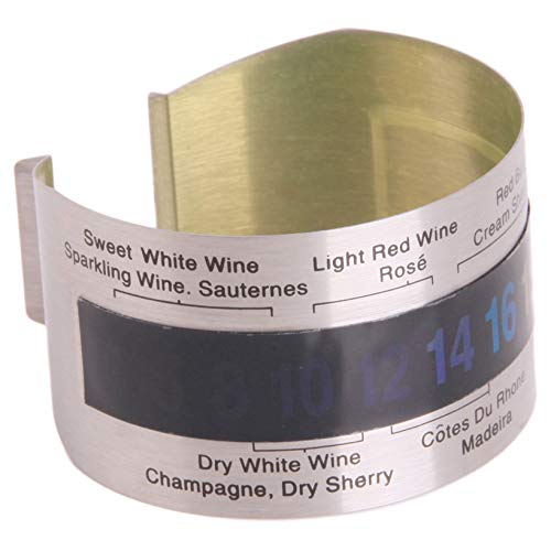 Aiasiry Weinthermometer Aus Edelstahl Weintemperaturanzeige Mit Temperatursensor, Silber