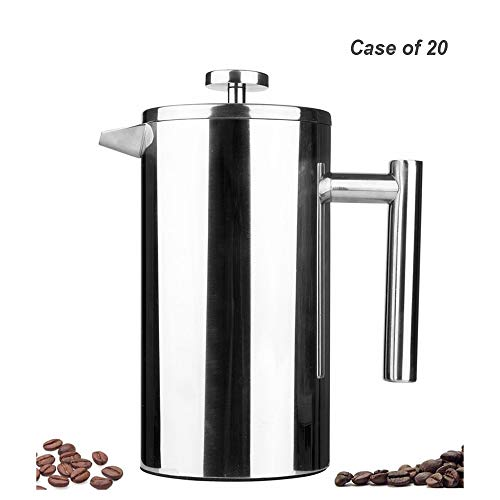 Case of 20, Highwin Small Stainless Steel French Press - 3 cups (4 oz each) Coffee Plunger, Press Pot, Best Tea Brewer & Maker, Quality Cafetiere - Double Walled, Silver