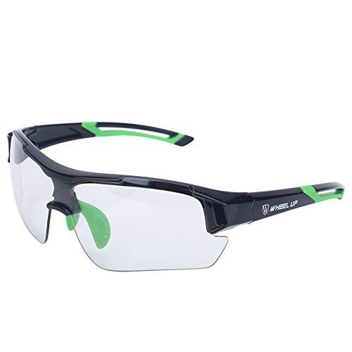 fotocromatiche lenti da sole unisex ciclismo moto, Clear equitazione occhiali da sole cambia colore antivento protezione UV mountain bike occhiali sport outdoor occhiali da sole, Green/blu/red.(verde)