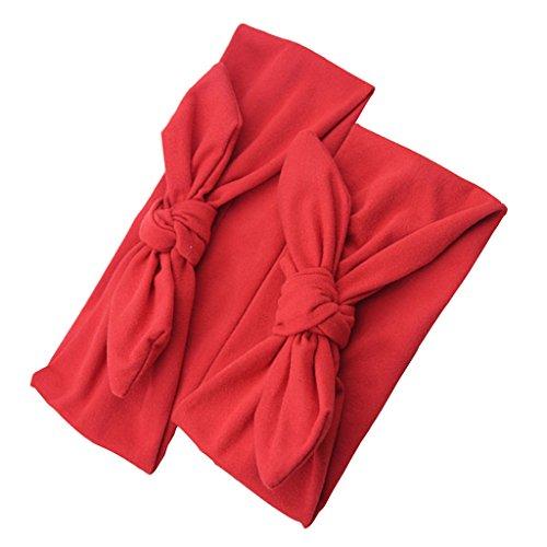 F Fityle 2 Stück Mutter und Tochter Haarband Baby Stirnbänder verknotete Headwrap Knot Stirnband Head Wraps - Rot