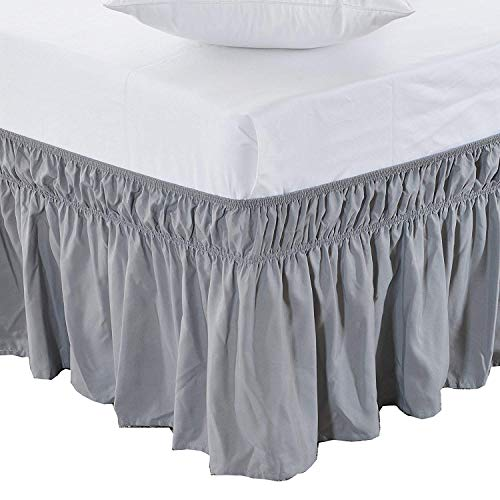 Black Friday & Cyber Monday Deals ! Ruffled Wrap Around Bed Skirt- 20 Inches Drop Easy Fit (Available for All Bed Sizes and Colors)- Queen Size, Light Grey Solid
