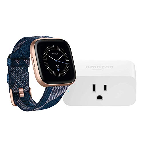 Fitbit Versa 2 Smartwatch (Navy & Pink Woven/Copper Rose) with Amazon Smart Plug Bundle