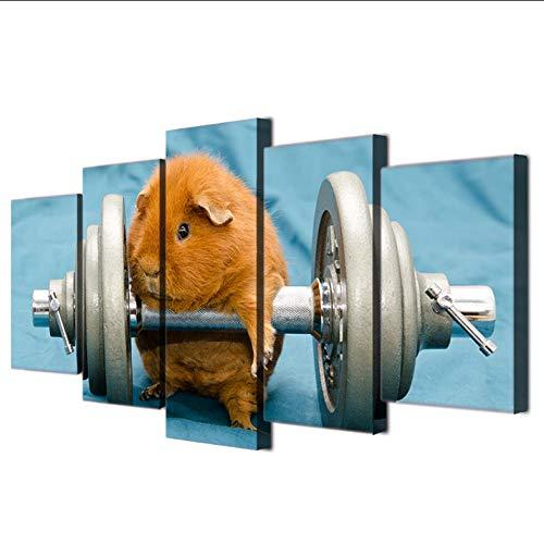 Jgophu Abstrakte Leinwand Malerei 5 Panel Tier Meerschweinchen Kunst Poster Stil Wandbild Für Wohnzimmer Modernes Dekor Malerei 40x60X2 40x80X2 40x100 cm
