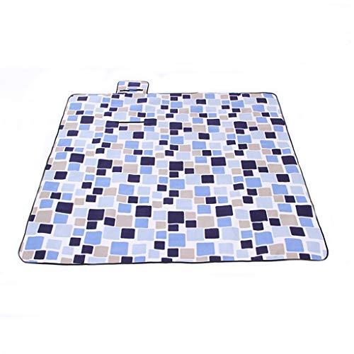 w.p. Picknick-Matte im Freien, Camping-Strandzelt-Matte, wasserdichtes Starkes Rasen-Matten-Picknicktuch 2 * 2 Meter, maschinenwaschbares Falten Rice Light Blue