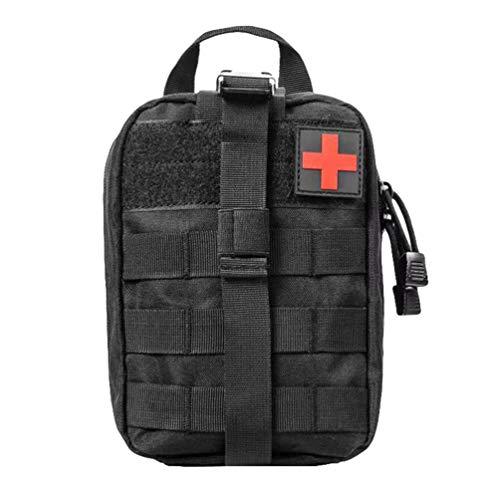 Kaiyei Tactica Bolsa Primeros Auxilios MOLLE Médico Bolsa EMT Kit de Supervivencia Bolsa Bandolera Bolsa con Parche Militar 900D Oxford Impermeable Ciclismo Cámping Negro