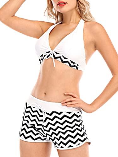Tuopuda Costumi da Bagno Mare Donna Due Pezzi Halter Bikini Set Regolabile Reggiseno Spiaggia Push Up Imbottito con Pantaloncini da Bagno Brasiliana Bikini String Thong, A-Bianca, S