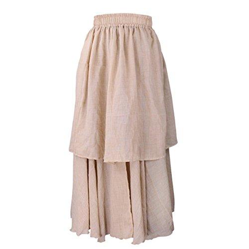 Evedaily Damen Rock Maxirock Sommerrock Langer Rock Baumwolle Leinen elastische Taillenbund One Size - 4