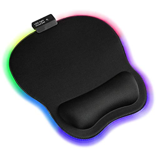 Qudodo RGB Mouse Pad with Wrist Support,Ergonomic Mouse Pad with Memory Foam Wrist Rest Support,Three RGB modes,Static,Breathing Cycle, Marquee Effect,Gaming Mouse Pad for Game player,RGB faith player