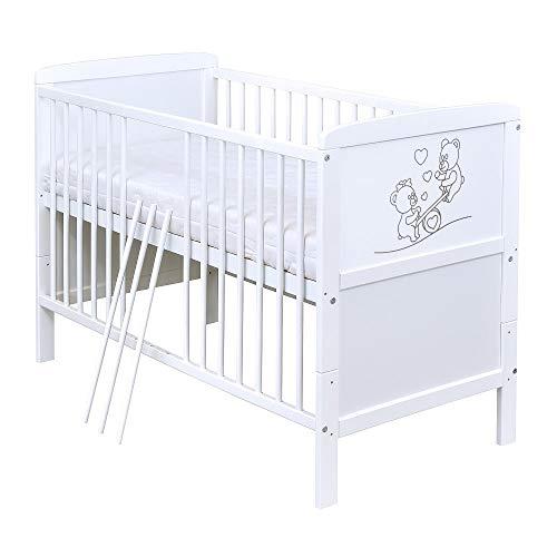 Baby Delux Babybett Kinderbett Juniorbett Holz mit Teddy Wippe Motiv 140x70 Weiß umbaubar NEU