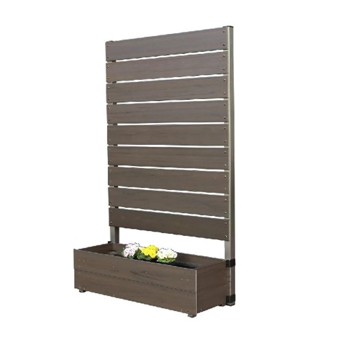 共産主義定期的な公平なプランタボックス付コンフォートフェンス 幅90センチx高さ150センチ 板間隔1センチ ダークブラウン