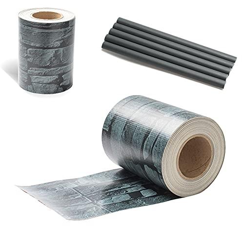 SONUG PVC Sichtschutzstreifen 35m x 19cm Zaunblende Folie, inkl. 30 Befestigungsclips, Sichtschutzfolie für Doppelstabmattenzaun, Windschutz Sonnenschutz Sichtschutz Gartenzaun(Schiefer-Optik)