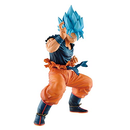 YYBB Dragon Ball Super Figure - Saiyan God Son Goku (Blue Hair) Collectible Figure Popular Characters Statue Bust Decorations Teenage Gift, 20CM Toys image